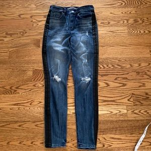 Express distressed leggings high rise